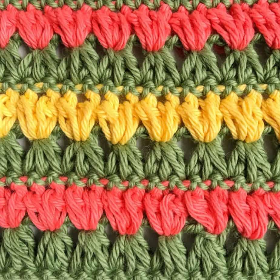 Triads Puff Stitch Closeup