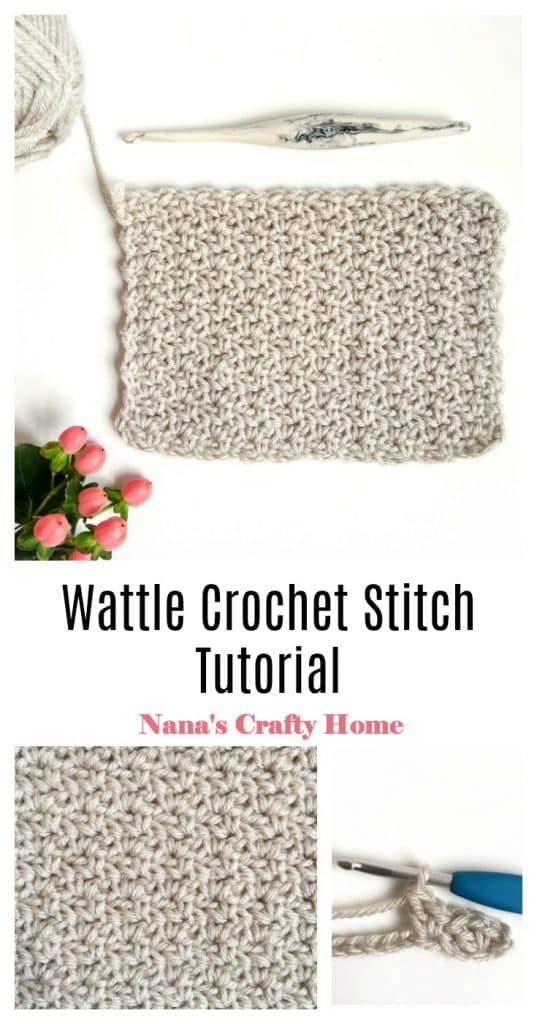 Wattle Crochet Stitch Photo & Video Tutorial Pinterest Collage