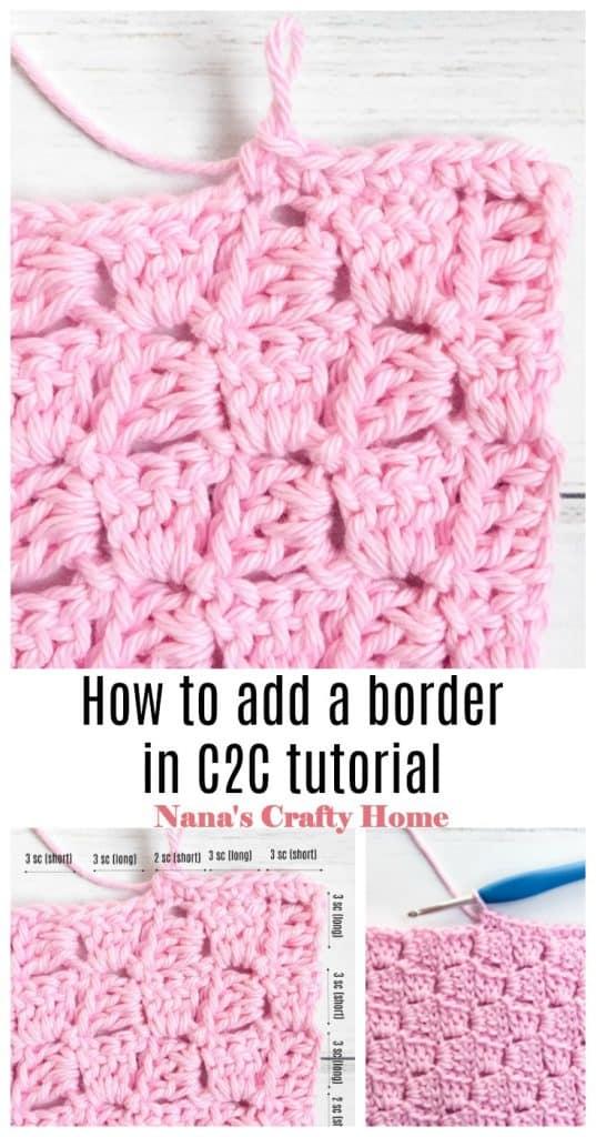 Add Border in C2C corner to corner tutorial Pinterest collage