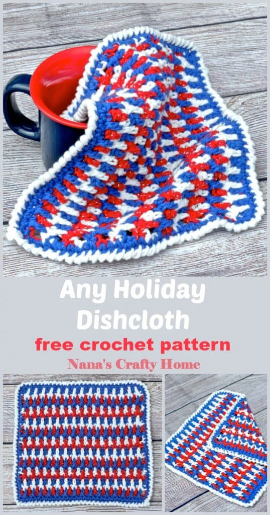 Any Holiday Dishcloth free crochet pattern Pinterest Collage