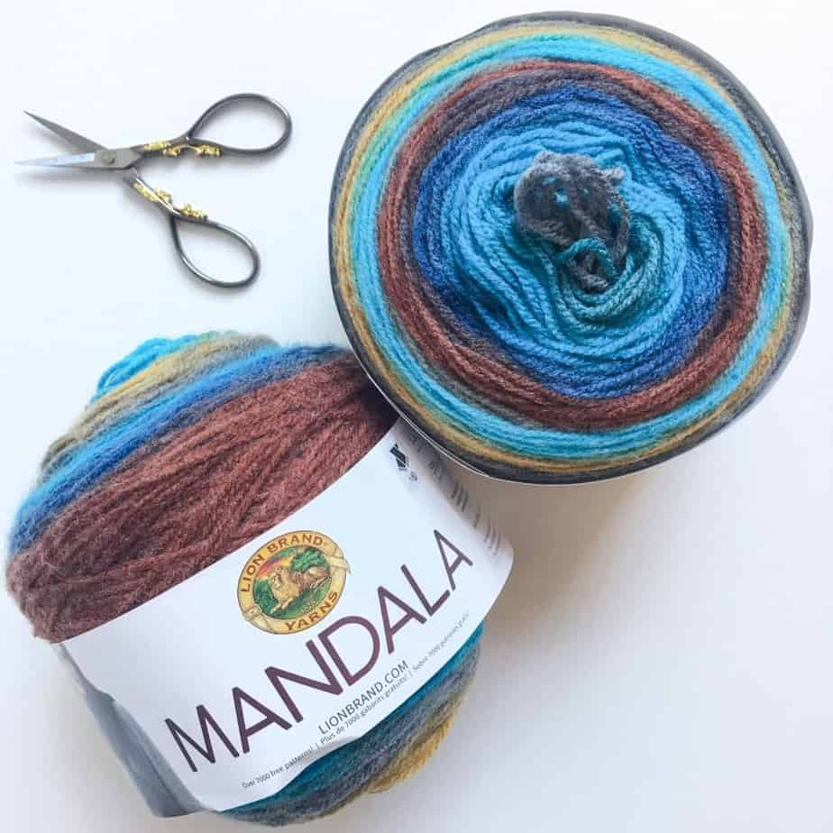 Choose self-striping yarn cakes multi cake projects Mandala