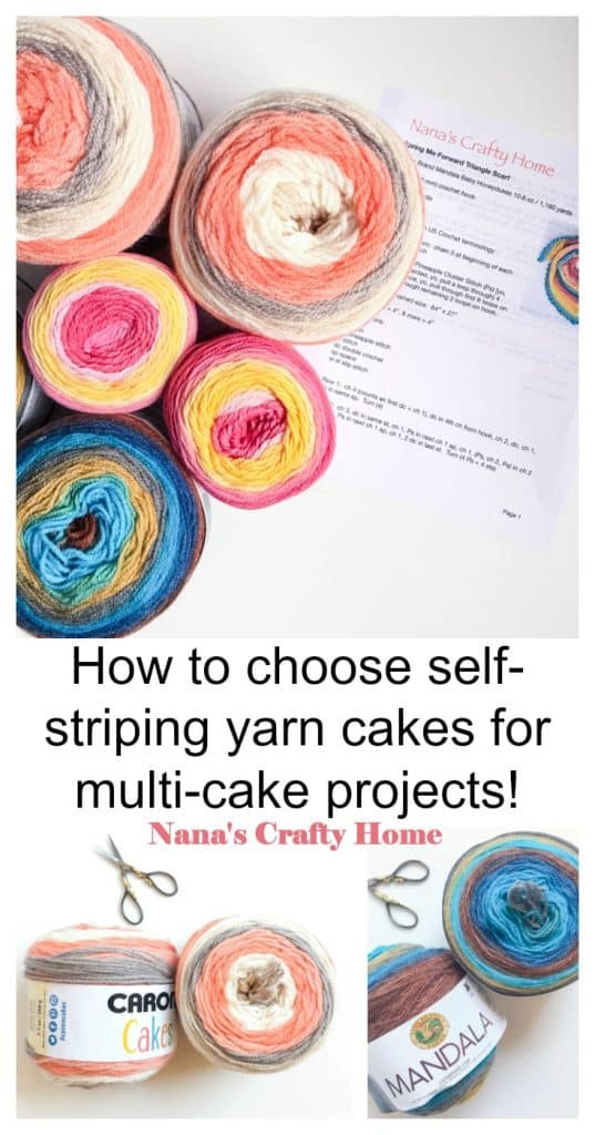 Choose self-striping yarn cakes multi cake projects Caron Cakes Pinterest