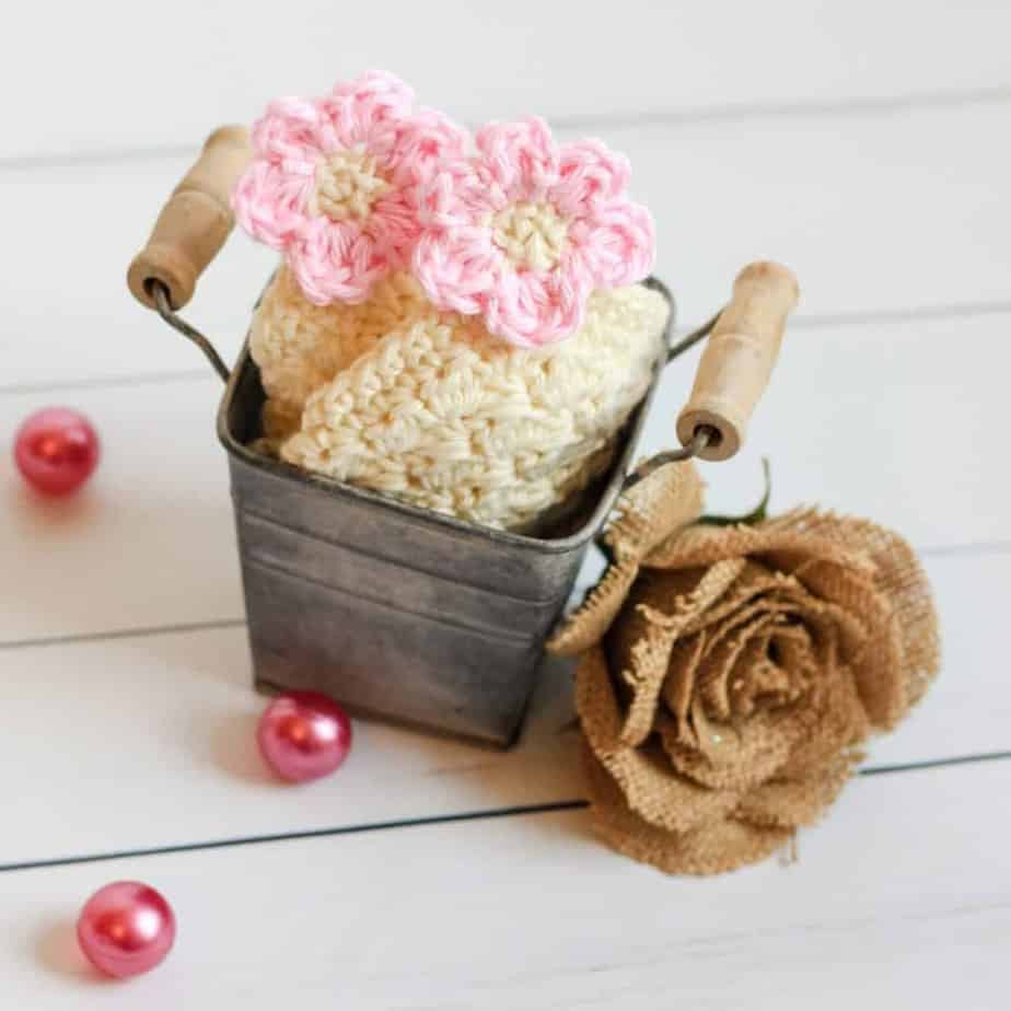 Flower Blossom Spa Washcloth rustic bucket