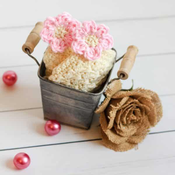 Flower Blossom Spa Washcloth rustic bucket