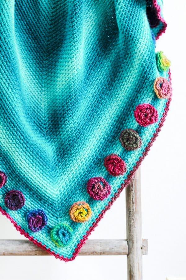 Flower Meadow Blanket free crochet pattern close up