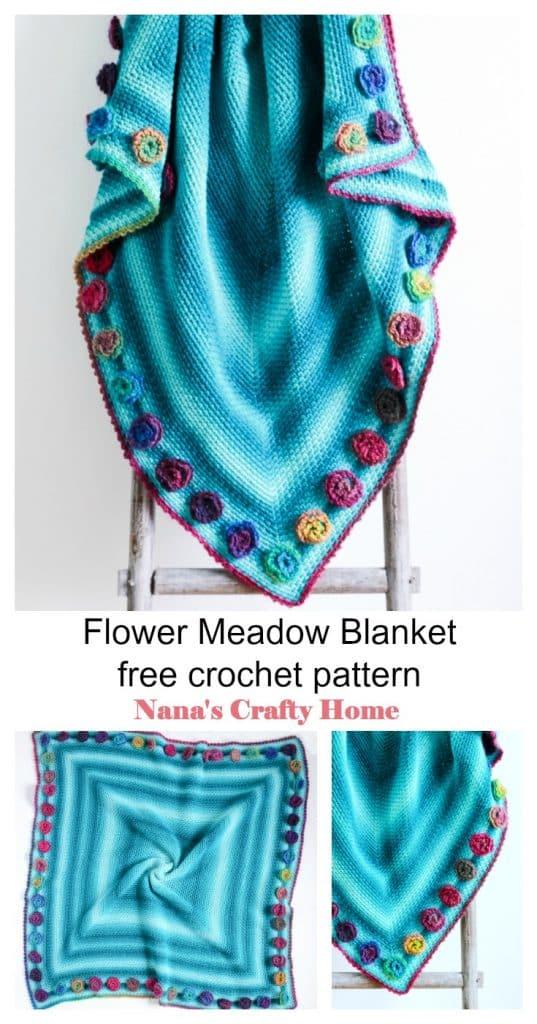 Flower Meadow Blanket free crochet pattern Pinterest Collage