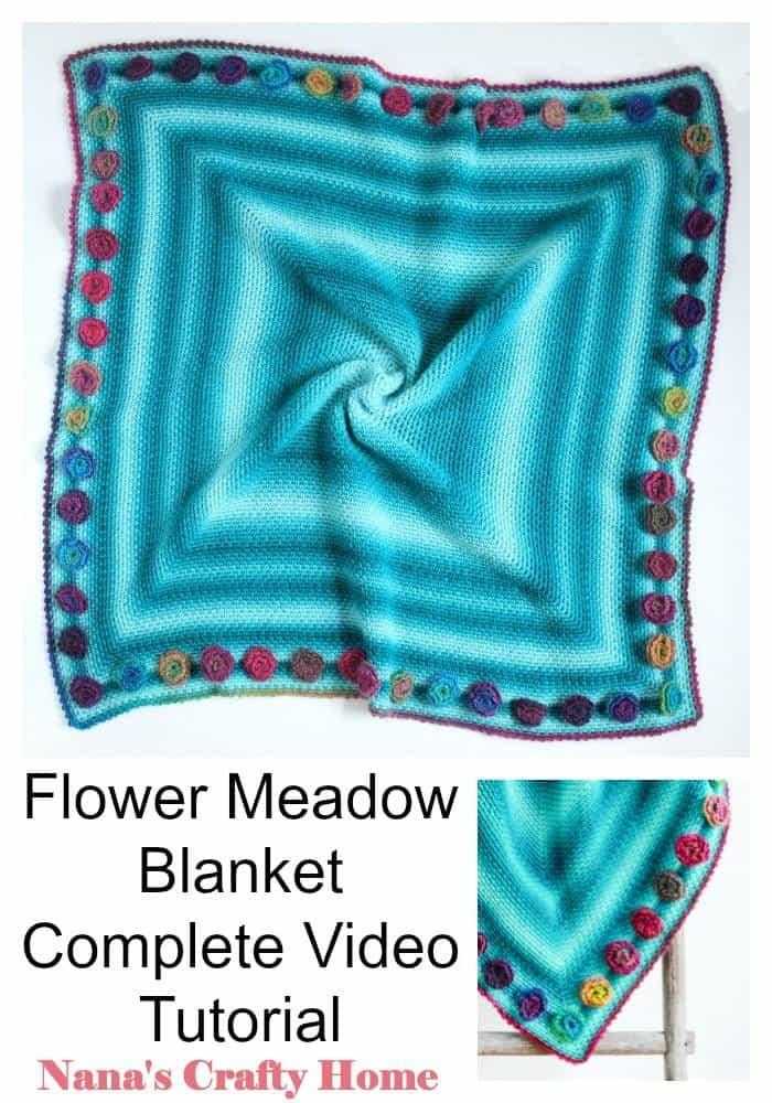 Flower Meadow Blanket video tutorial Pinterest Collage