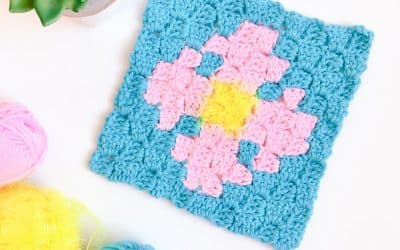Flower Scrubby C2C Dishcloth free crochet pattern