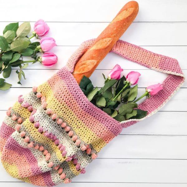 Gathering Rosebuds Market Bag free crochet pattern roses