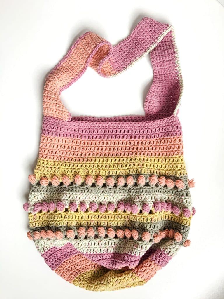 Gathering Rosebuds Market Bag free crochet pattern flat lay