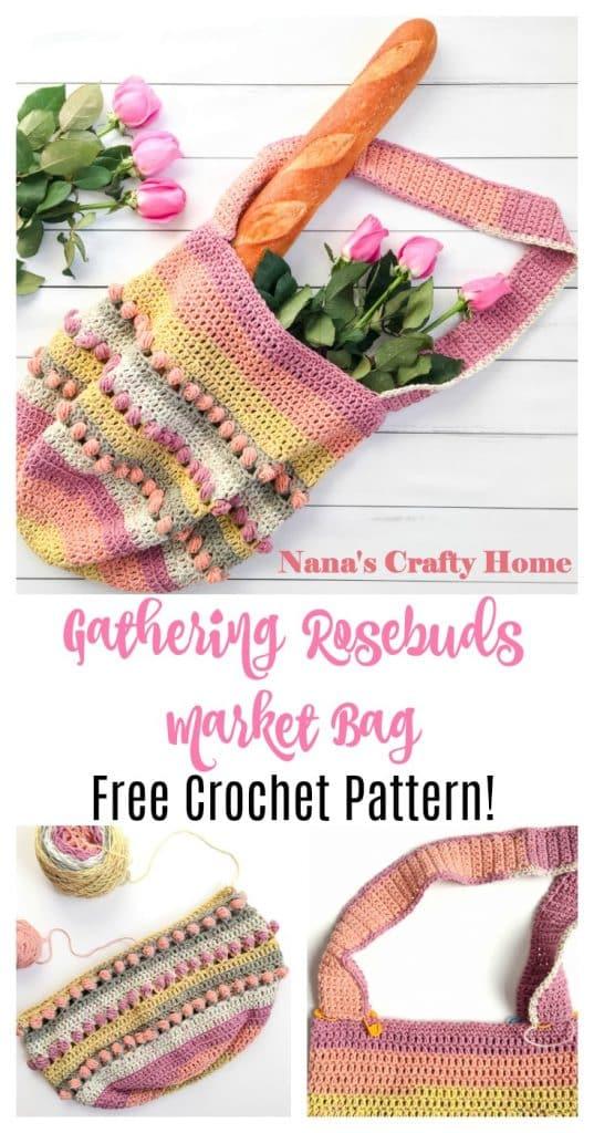 Gathering Rosebuds Market Bag free crochet pattern Pinterest Collage 2