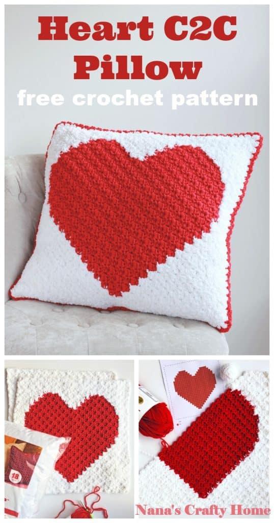 Heart C2C Pillow Pinterest collage