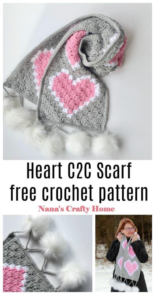 Heart C2C Scarf Pinterest Collage