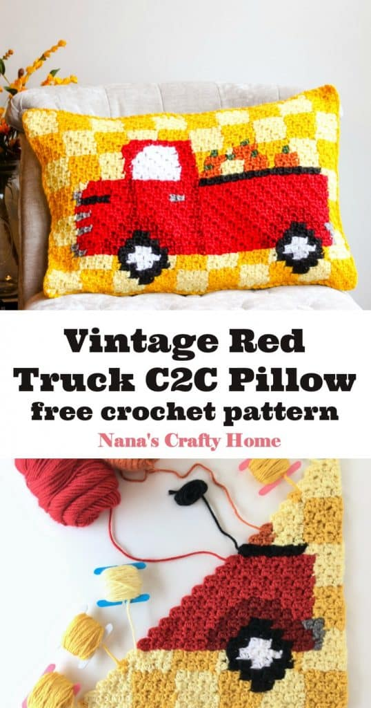 Vintage Red Truck C2C Pillow Pinterest Collage