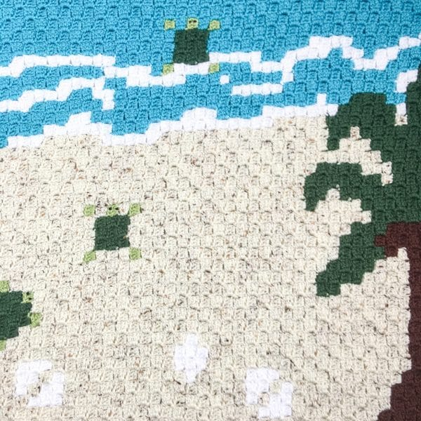 Sea Turtle C2C Blanket Flat closeup