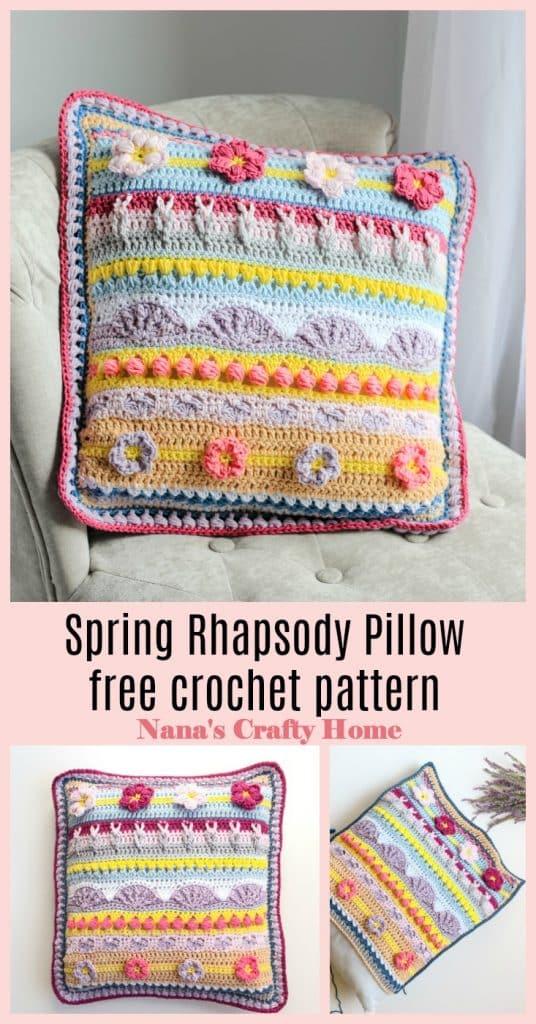 Stitch Sampler Spring Rhapsody Pillow  Pinterest collage