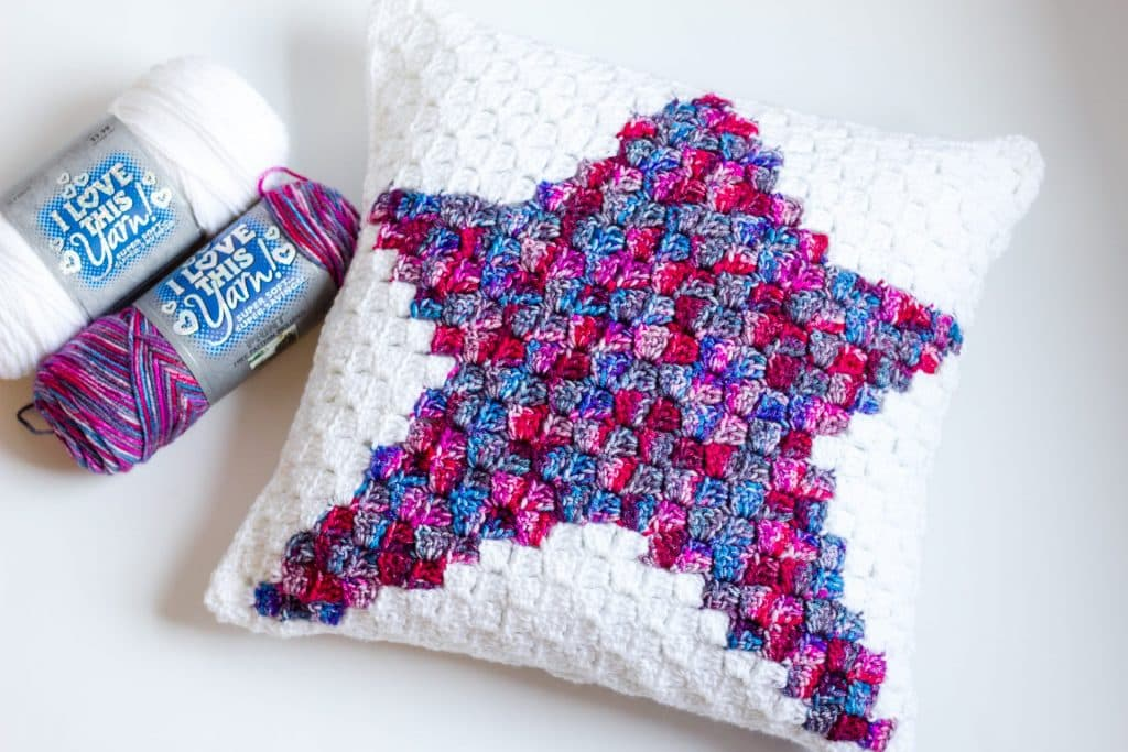 Star C2C Pillow free crochet pattern flat