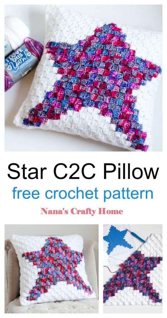Star C2C Pillow free crochet pattern Pinterest collage