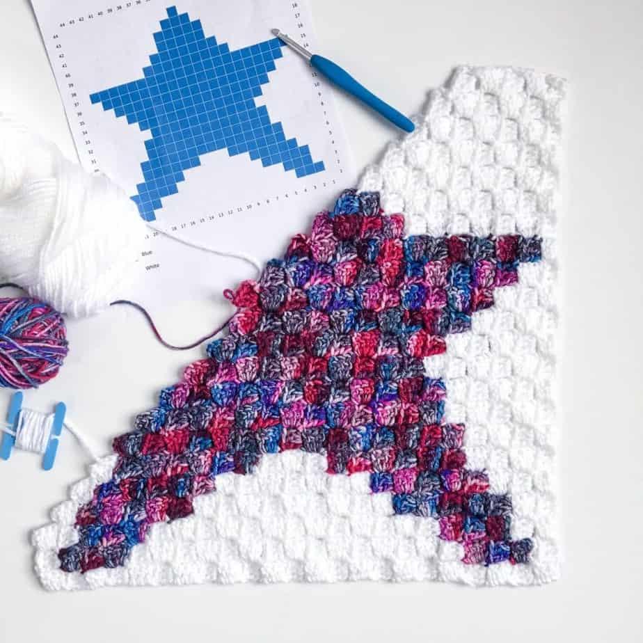 Star C2C Pillow free crochet pattern process