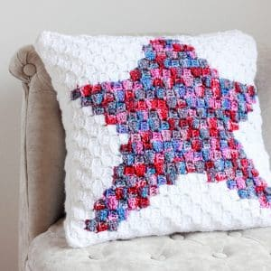 Star C2C Pillow free crochet pattern chair
