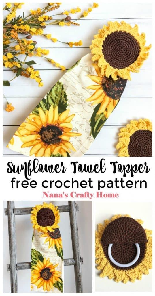 Sunflower Towel Topper Free Crochet Pattern Pinterest Collage