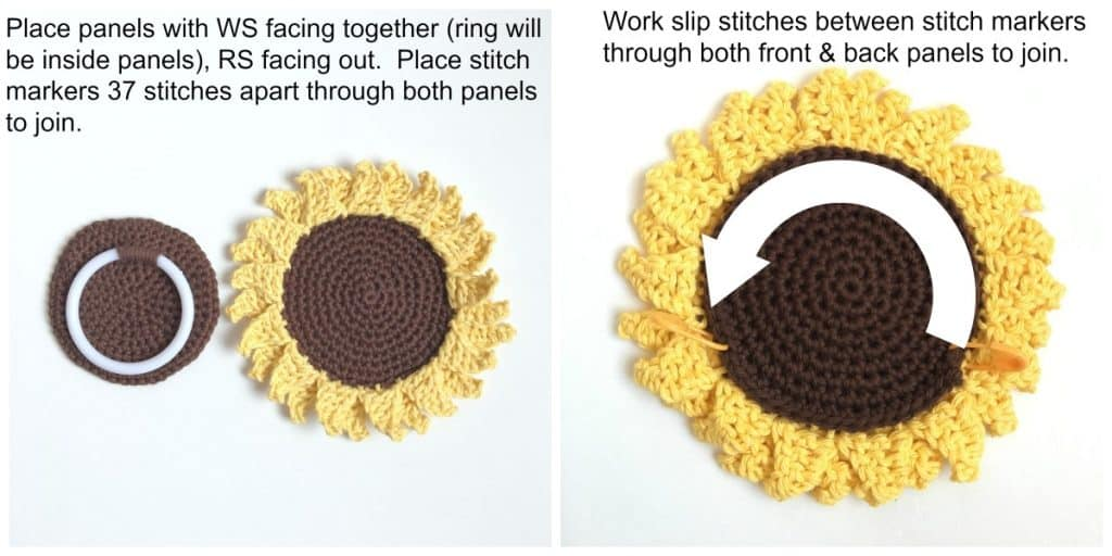 Sunflower Towel Topper Ring process instructions part 3
