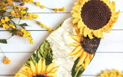 Sunflower Crochet Towel Topper free pattern