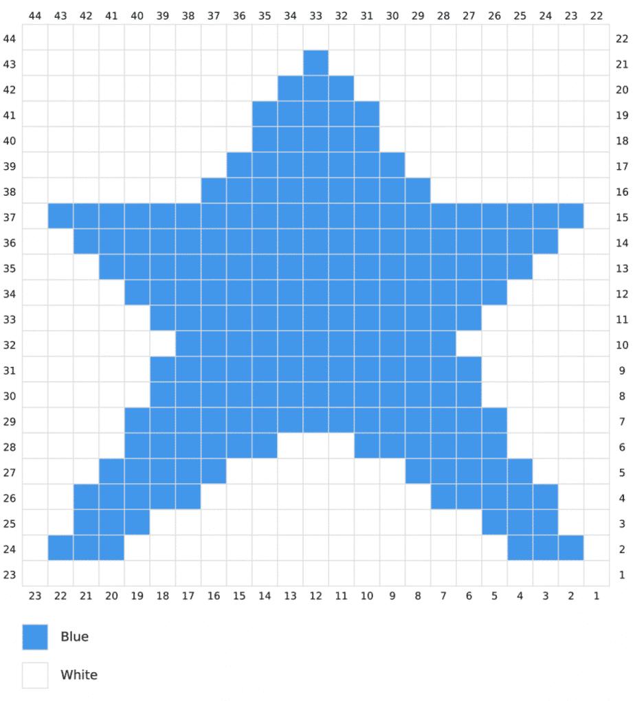 Star C2C Pillow free crochet pattern graph