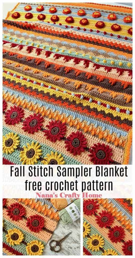 Fall Stitch Sampler Blanket free crochet pattern Pinterest collage