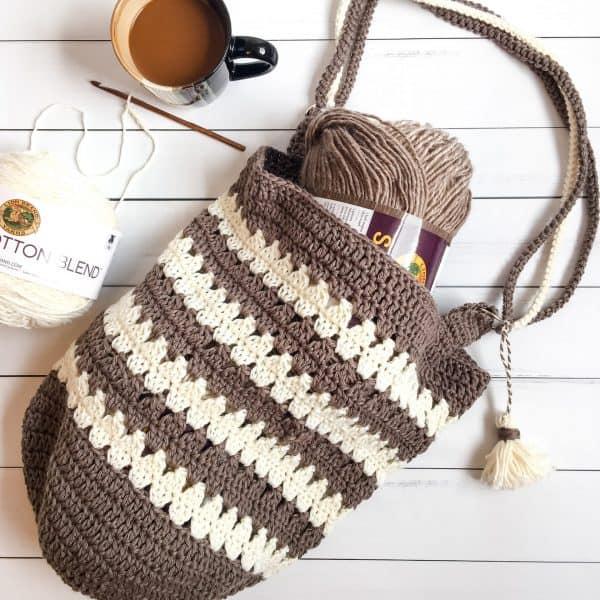 Coffee & Cream Market Bag free crochet pattern