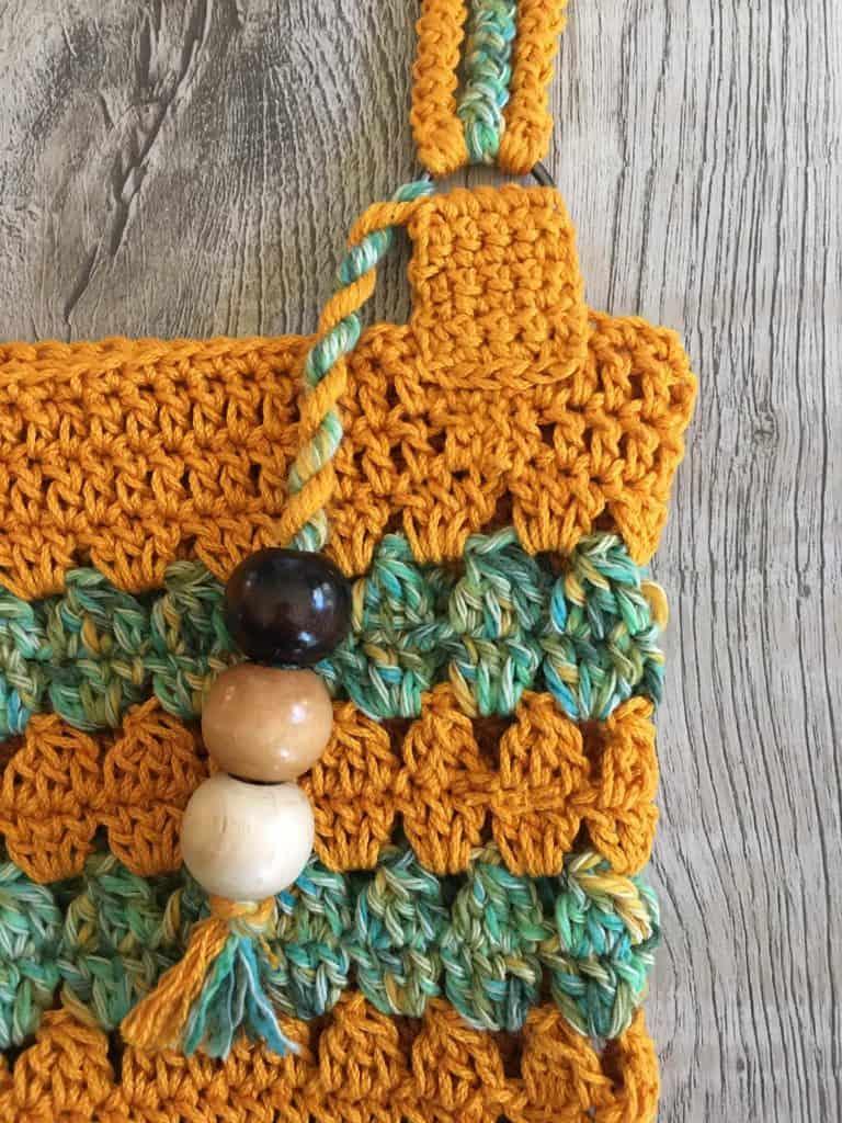 Coffee & Cream Market Bag bead fringe