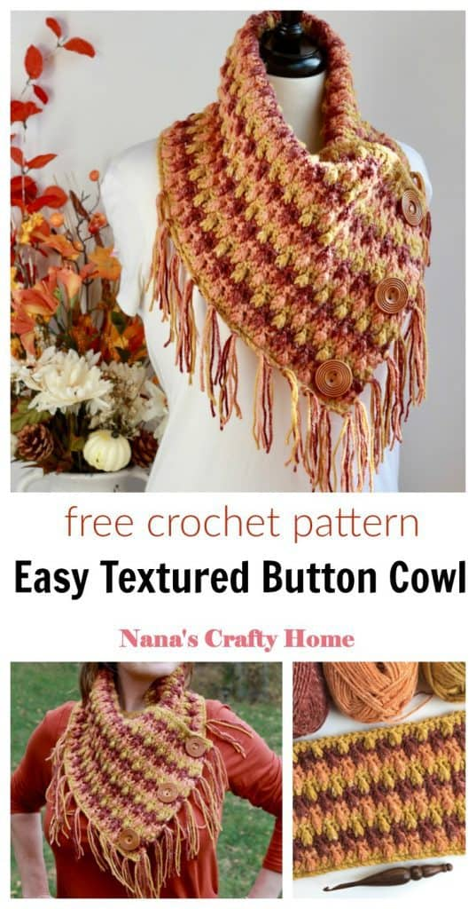 Falling Leaves Crochet Cowl free pattern Pinterest collage