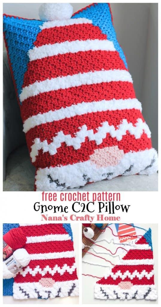 Christmas Gnome C2C Pillow free crochet pattern Pinterest collage