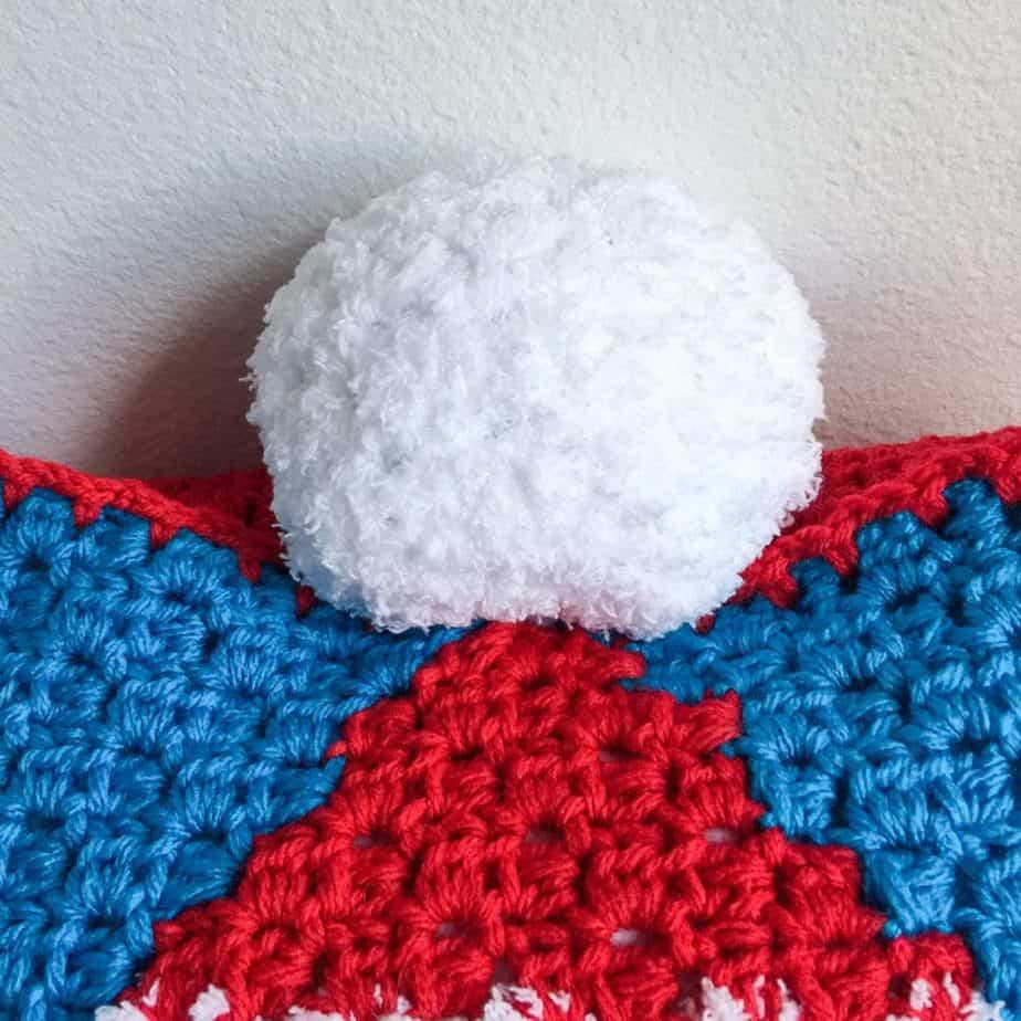 Christmas Gnome C2C Pillow free crochet pattern pom pom close up
