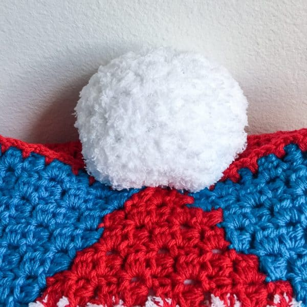 Christmas Gnome C2C Pillow free crochet pattern pom pom close up