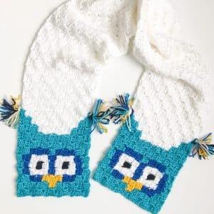 Owl C2C Scarf free crochet pattern