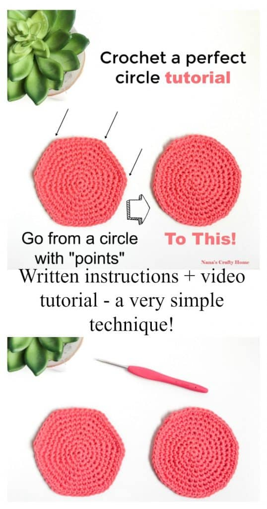 Crochet Perfect Circle Tutorial pinterest collage