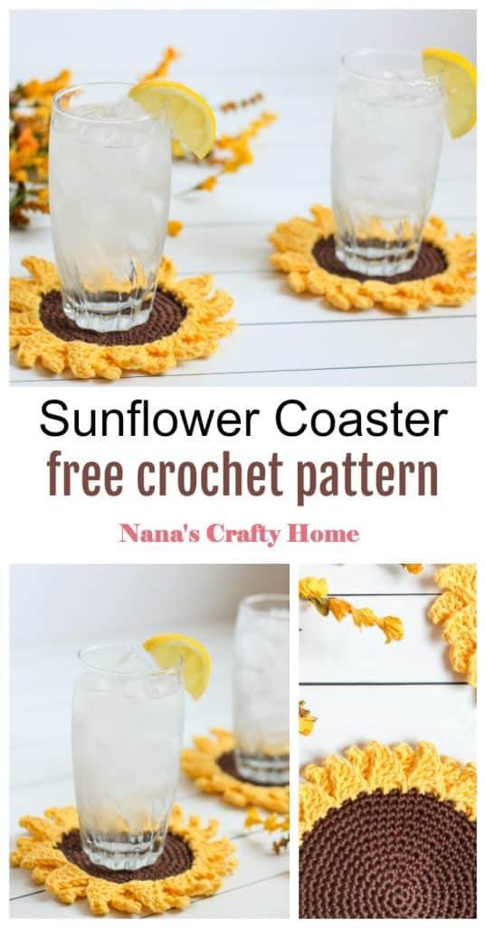 Sunflower Coaster crochet pattern Pinterest collage