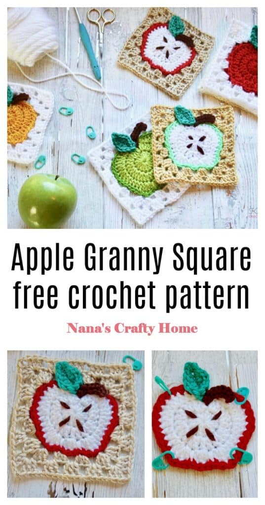 Apple Granny square free crochet pattern