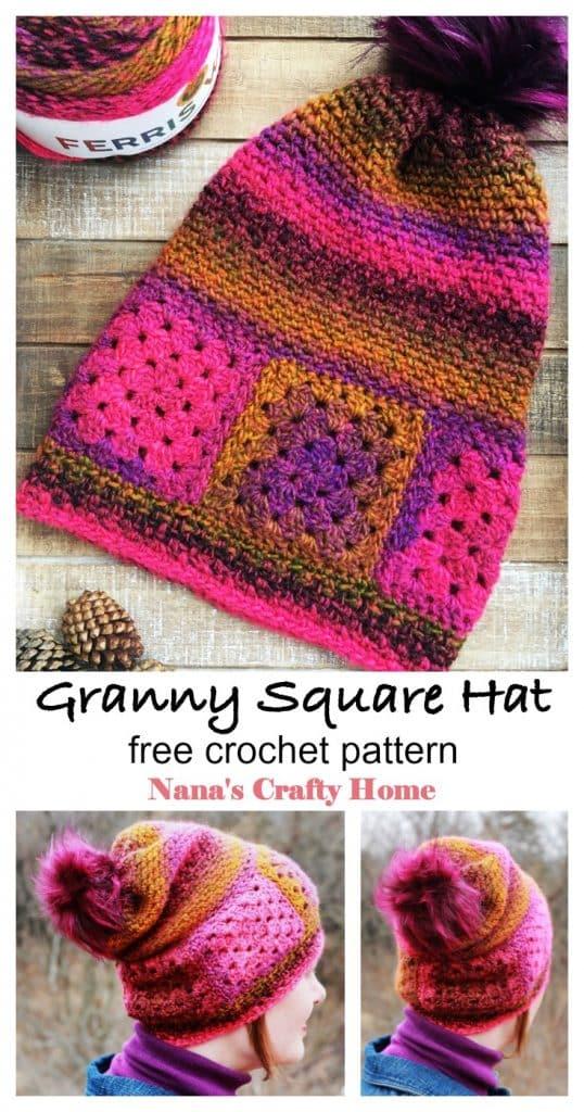 Granny Square Hat free crochet pattern