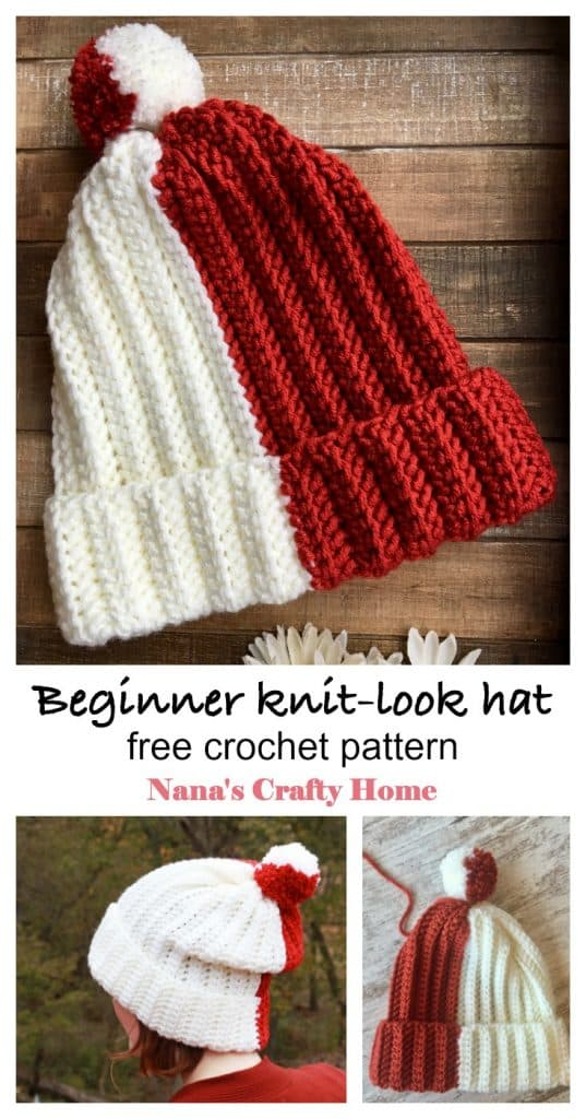 Beginner color block crochet hat free pattern