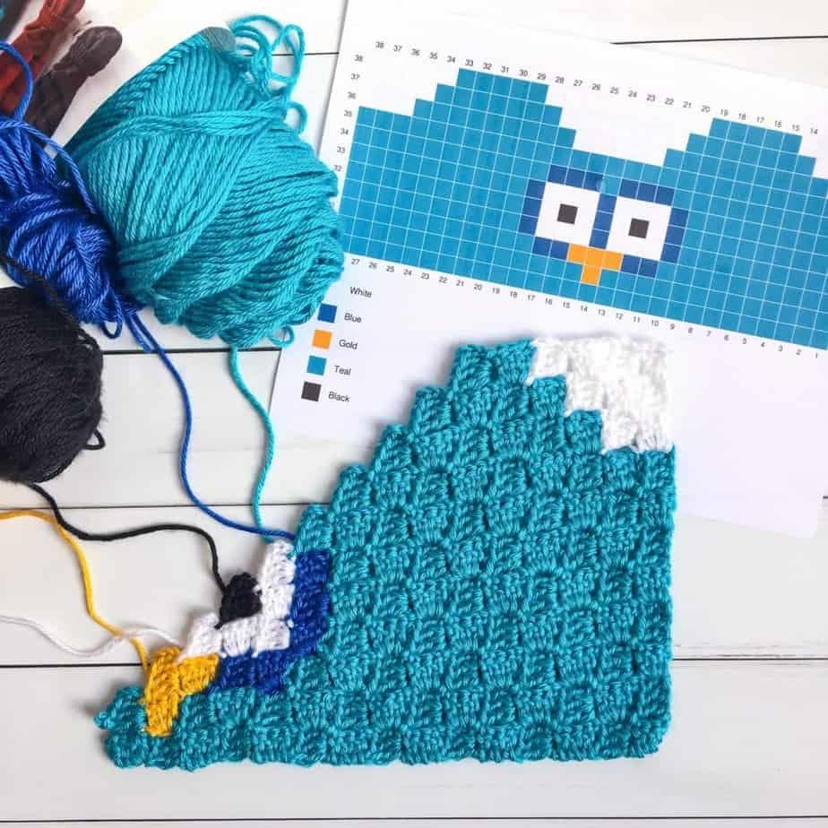Owl C2C Sack Hat in process
