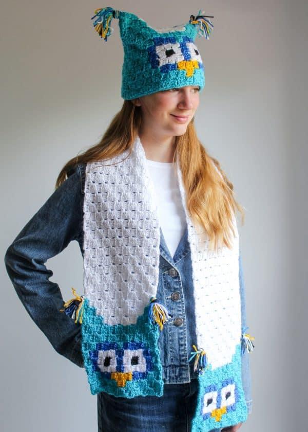 Owl C2C Sack Hat & matching scarf