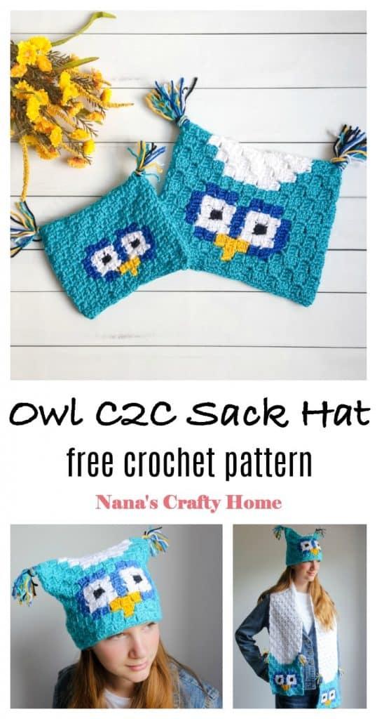 Owl C2C Sack Hat