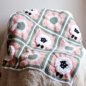 Sheep Granny Square Blanket free crochet pattern