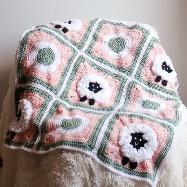 Sheep Granny Square Blanket free crochet pattern