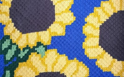 Sunflower C2C Crochet Blanket free crochet pattern