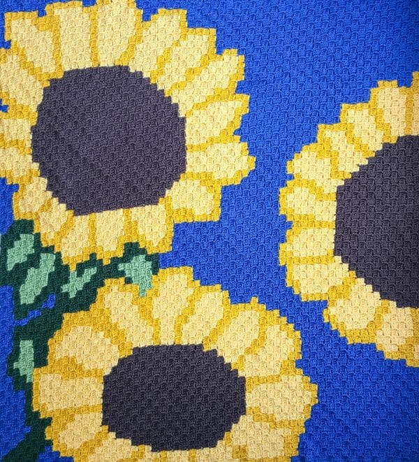 Sunflower C2C Blanket free crochet pattern