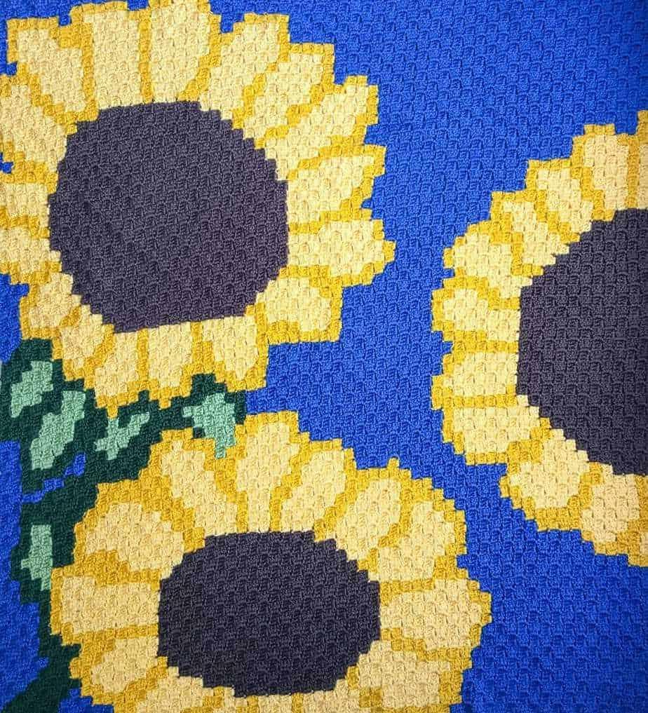 Sunflower C2C Blanket free crochet pattern