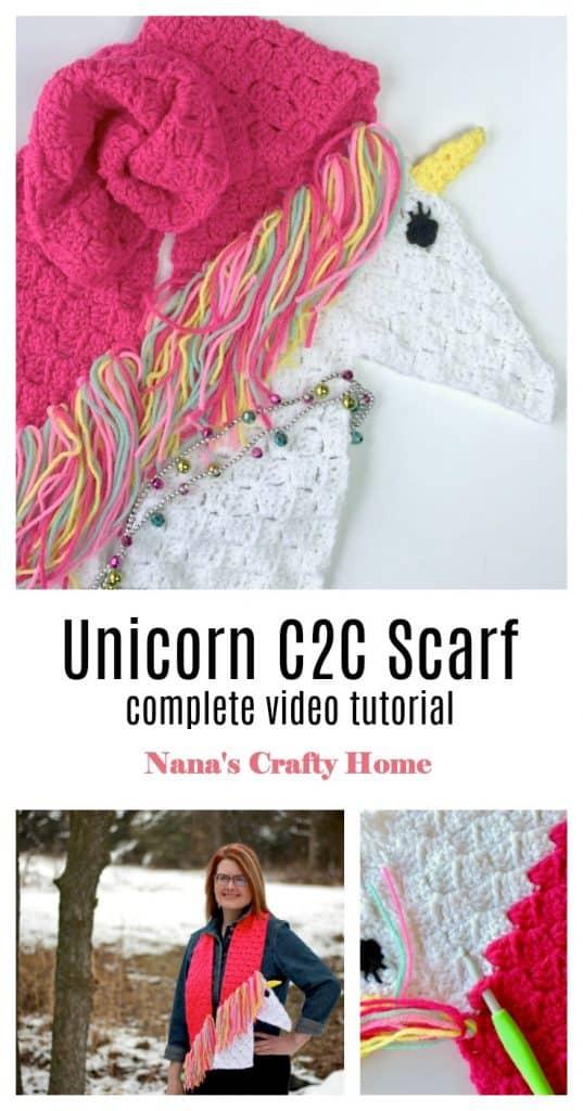 Unicorn C2C corner to corner scarf tutorial
